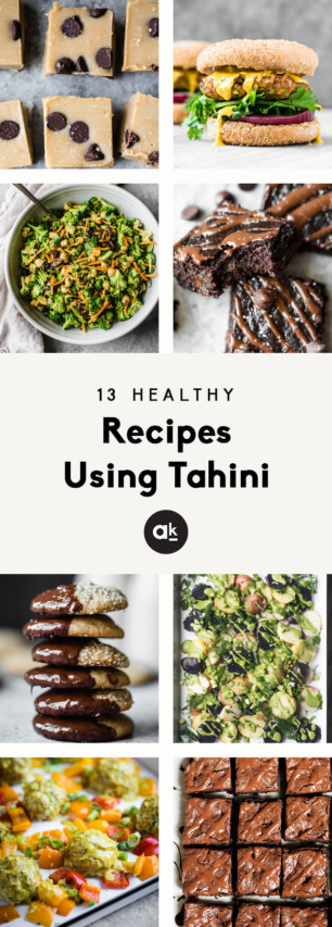 collage of healthy recipes using tahini