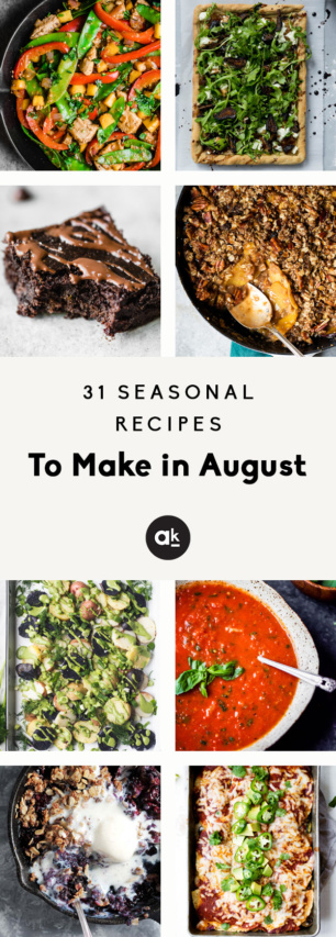 collage of seasonal recipes to make in august
