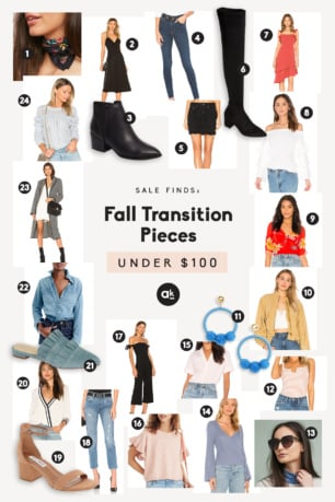 collage of fall transition pieces under $100