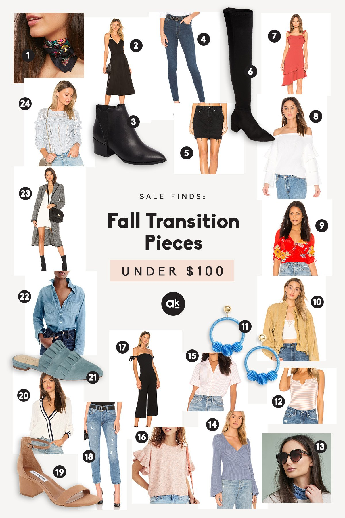 My favorite fashion picks for transitioning from summer to fall! Mix and match these jeans, light sweaters, dresses and go-to shoes for the perfect outfits any day of the week. All under $100!
