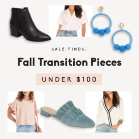 graphic of fall transition pieces under $100
