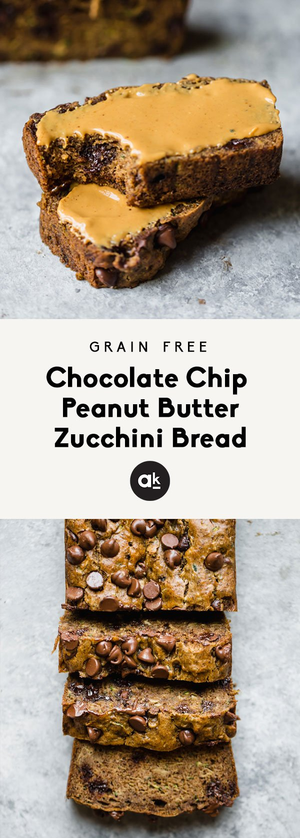 Low carb grain free peanut butter zucchini bread made with simple, nutritious ingredients. There are two options to make it: with coconut flour or with protein powder! Soft, fluffy, moist and a good source of protein & fiber.