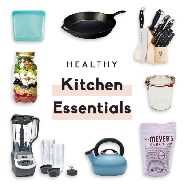 collage of healthy kitchen essentials
