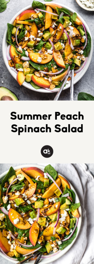 collage of spinach peach salad