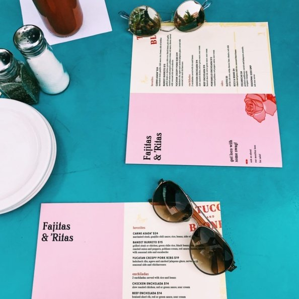 sunglasses and menus on a blue table