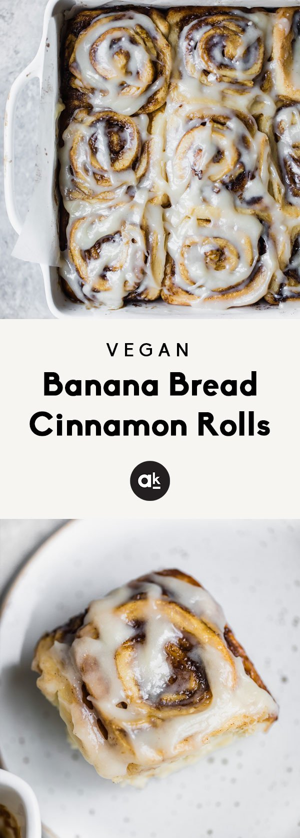 Meet the world's best vegan cinnamon rolls: vegan banana bread cinnamon rolls! A cross between a cinnamon roll and banana bread, these fluffy, soft cinnamon rolls are homemade and make a delicious brunch or treat! This recipe is in partnership with Almond Breeze.