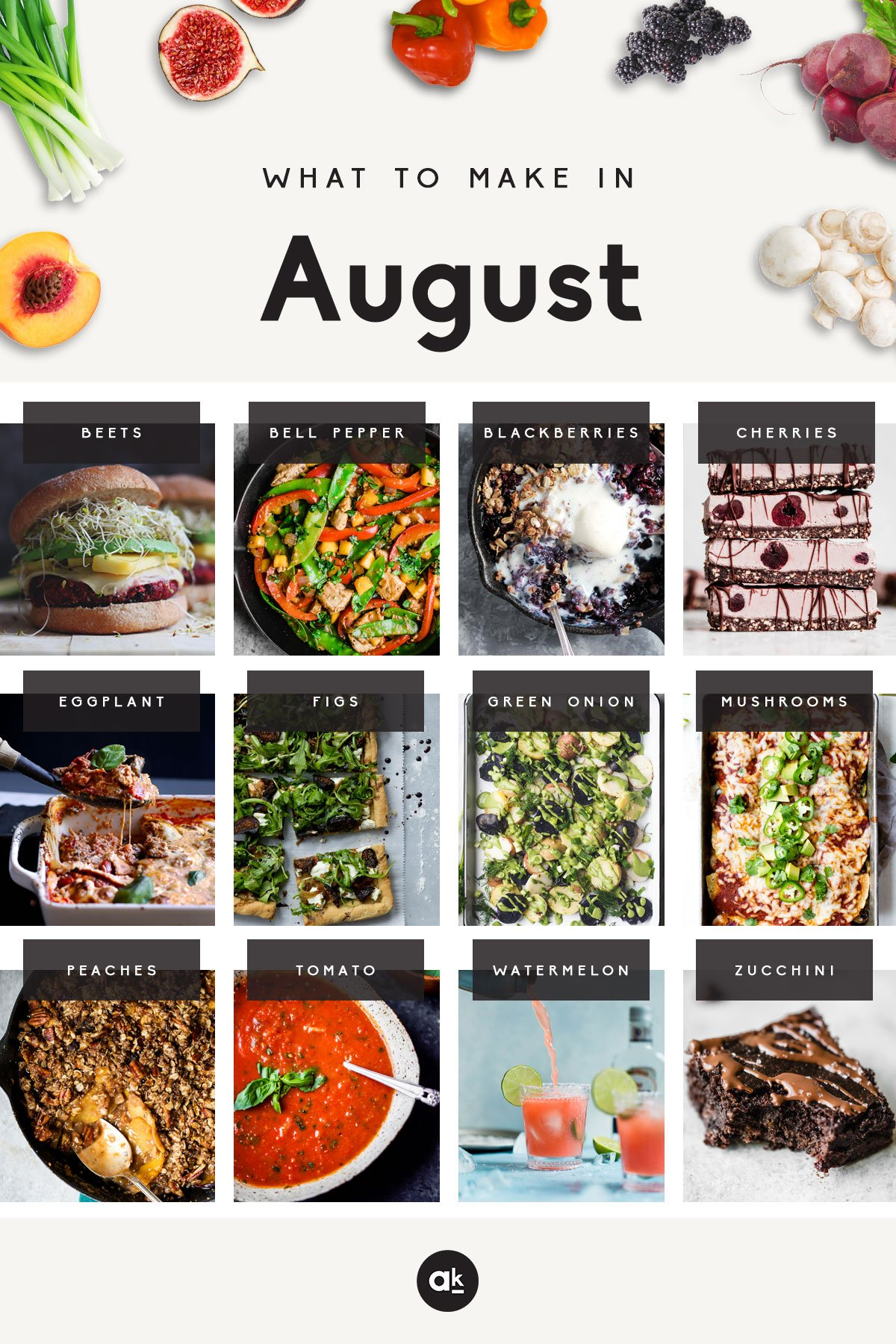 31 delicious, seasonal recipes to make in August! Pick a new recipe for every day this month, and enjoy incredible seasonal produce.