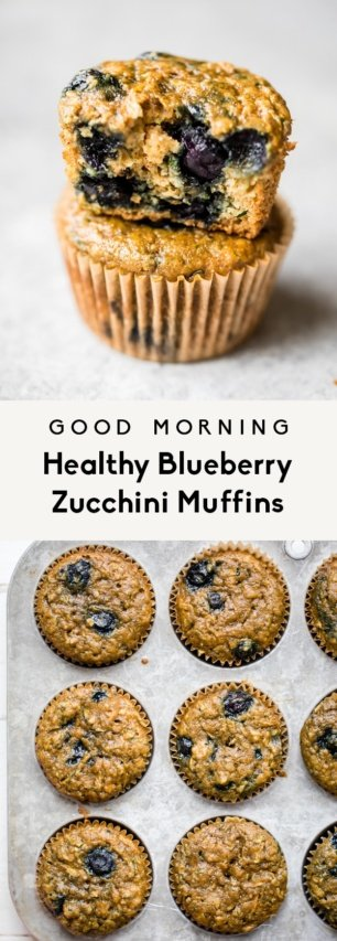 collage of blueberry zucchini muffins
