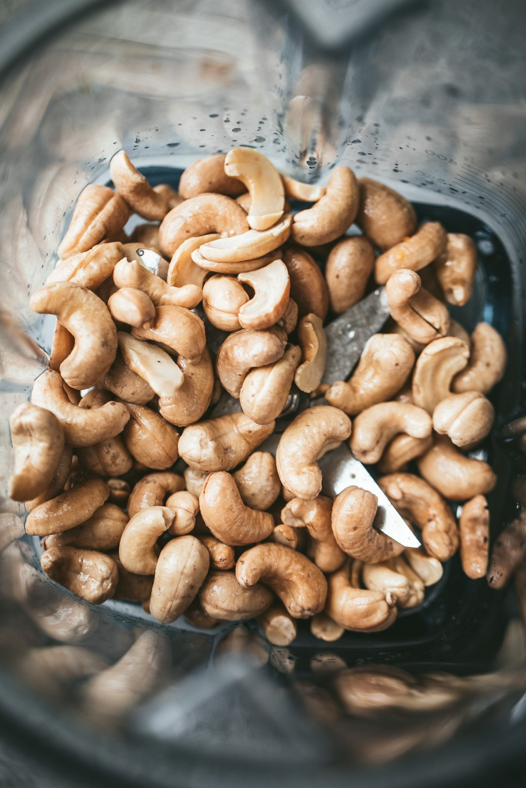 cashews in a blender to make vegan sweet potato cream sauce