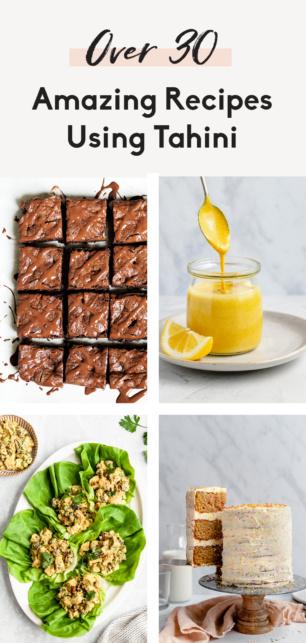 collage of tahini recipes