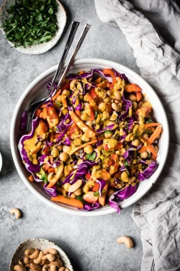 chopped thai chickpea salad in a bowl