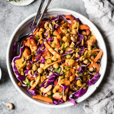 chopped thai chickpea salad in a bowl
