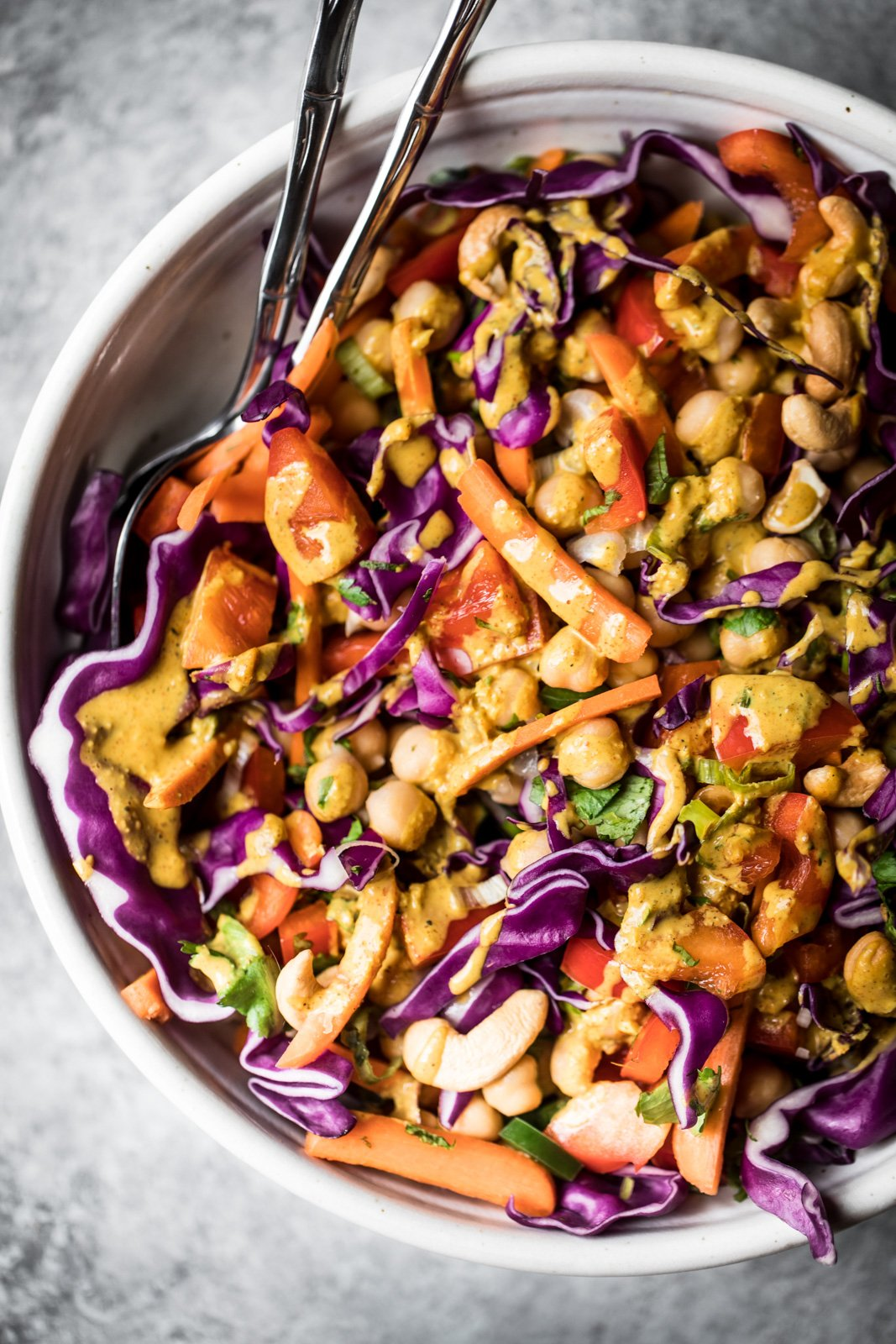 Cozy curry recipes: thai chickpea salad with curry dressing in a bowl