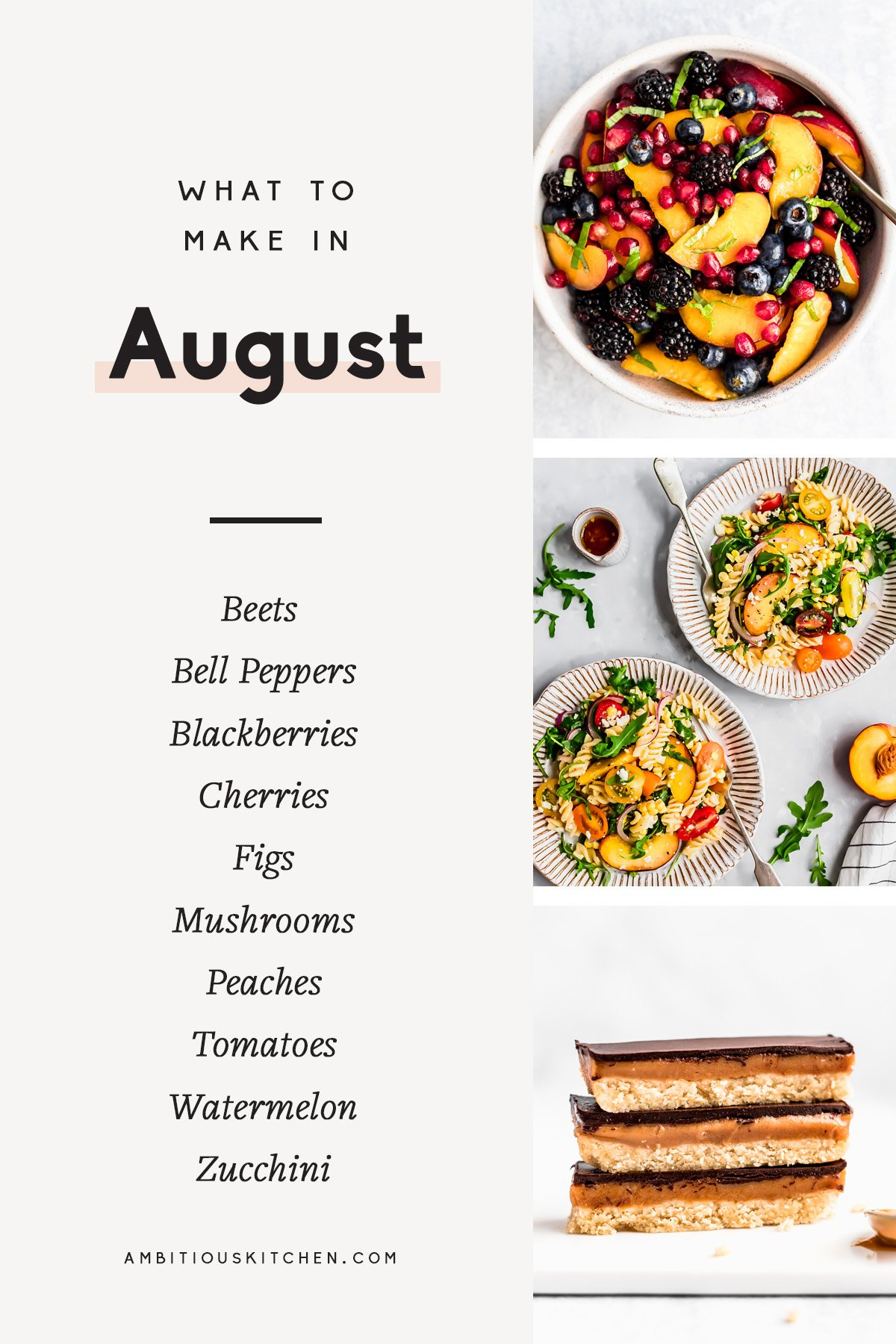 collage of seasonal recipes to cook in august
