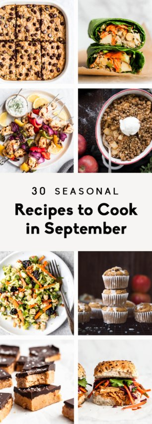 collage of seasonal recipes to cook in september
