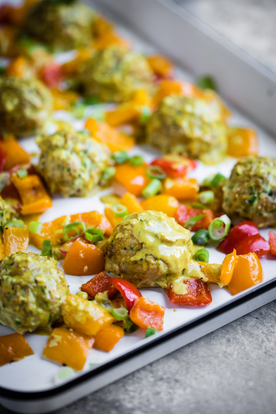 top 25 favorite recipes: zucchini chicken meatballs on a sheet pan