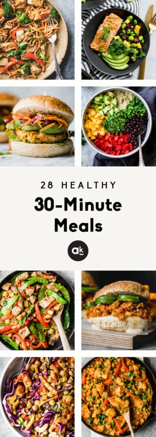 collage of healthy 30-minute meals