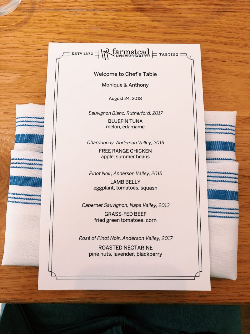 menu on a linen napkin