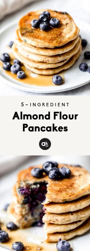 collage of almond flour pancakes