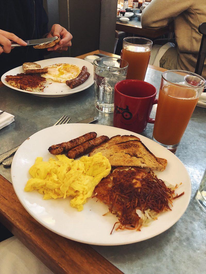 eggs and toast on plates