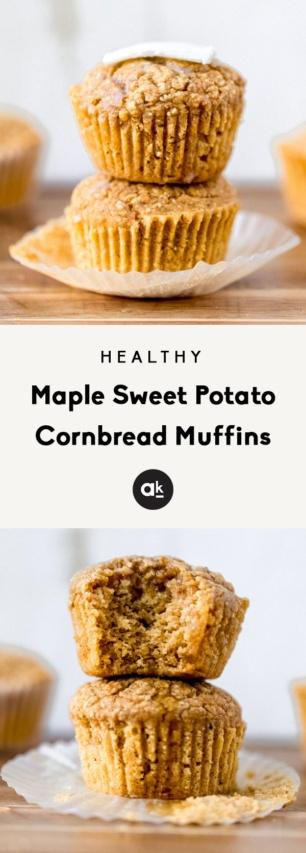 collage of sweet potato cornbread muffins