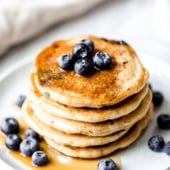 stack of almond flour pancakes on a plate