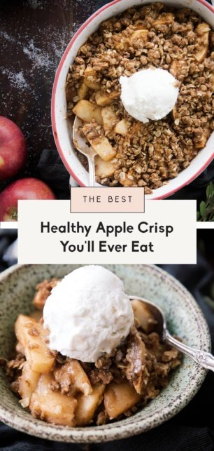 collage of healthy apple crisp