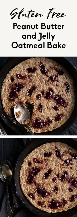 collage of peanut butter and jelly baked oatmeal
