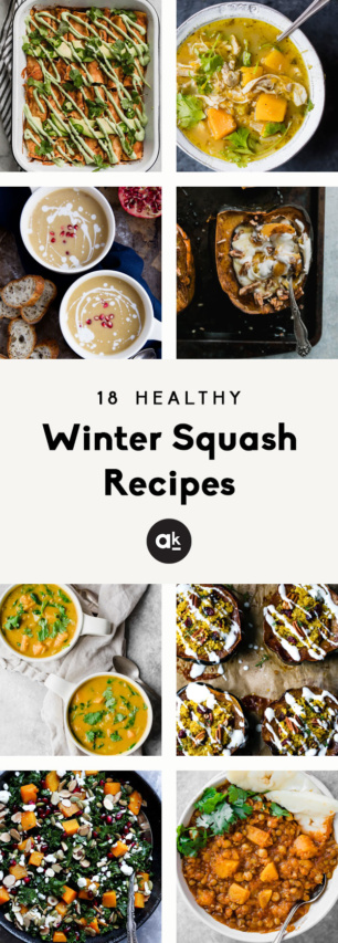 collage of healthy winter squash recipes