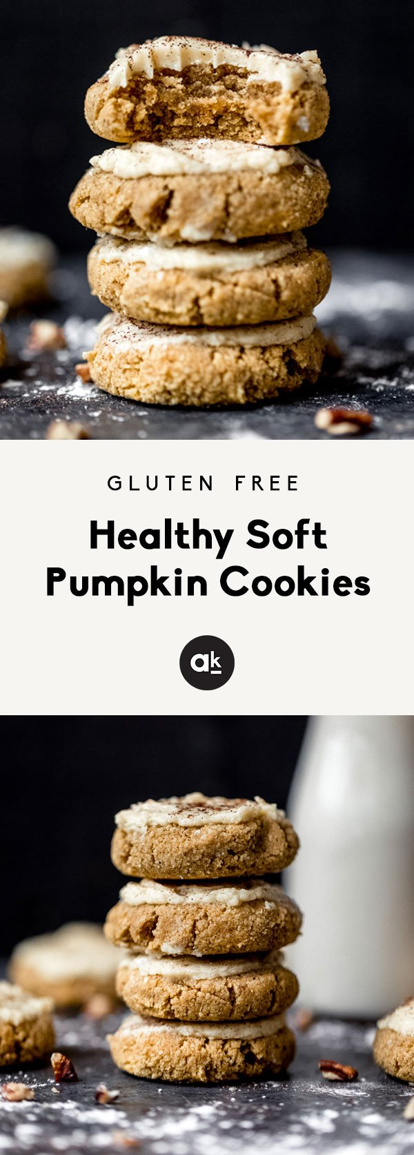 These healthy soft pumpkin cookies with an addicting salted maple frosting are absolutely delicious! These melt-in-your-mouth cookies are both gluten free and grain free and taste like a slice of your favorite pumpkin pie!