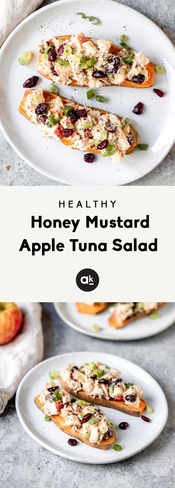 Protein-packed honey mustard apple tuna salad that's easy to make and delicious on apple slices or sweet potato toast. This recipe is made in partnership with Genova Seafood.
