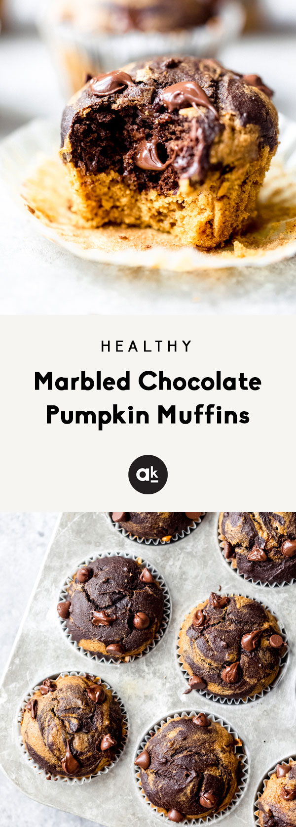 Incredibly fluffy marbled chocolate pumpkin muffins swirled with pumpkin spice batter and chocolate chip chocolate batter. These muffins are made with wholesome ingredients and make the perfect snack or healthier treat.