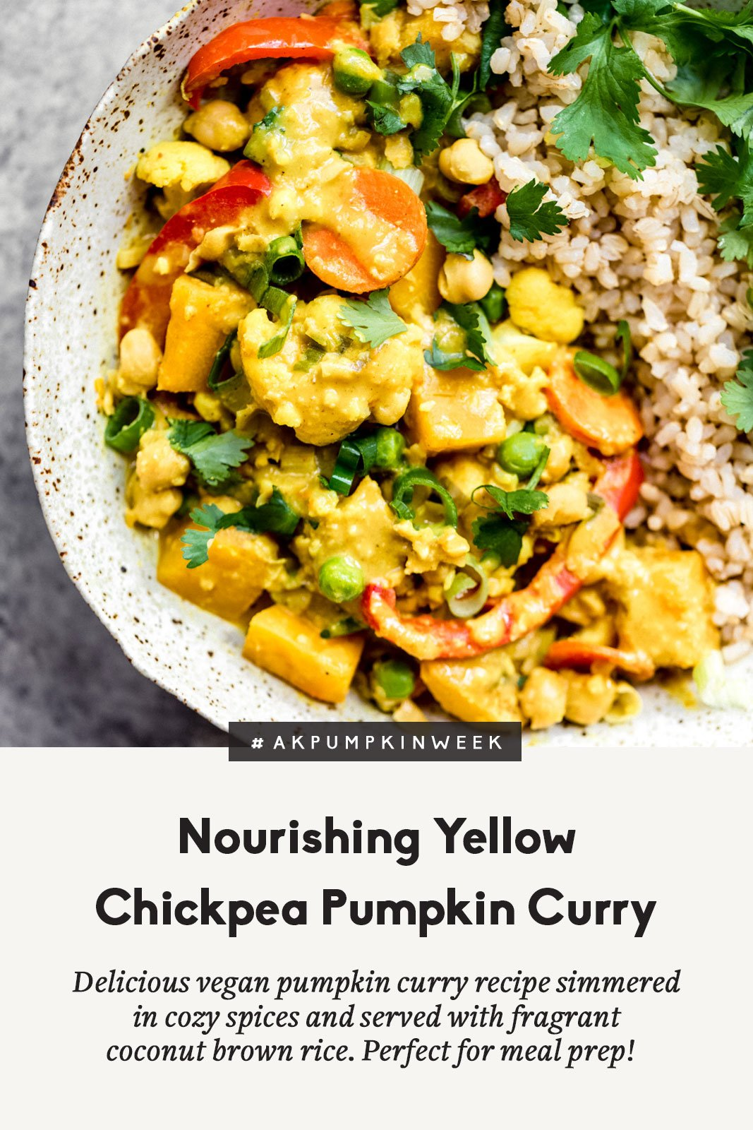 pumpkin curry with rice in a bowl with text overlay
