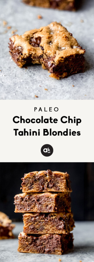 collage of paleo chocolate chip tahini blondies