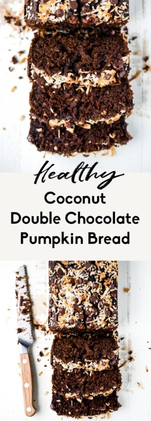 collage of healthy chocolate pumpkin bread