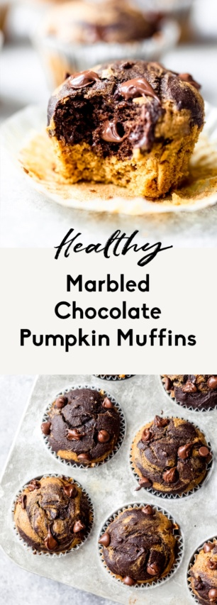 collage of healthy chocolate pumpkin muffins