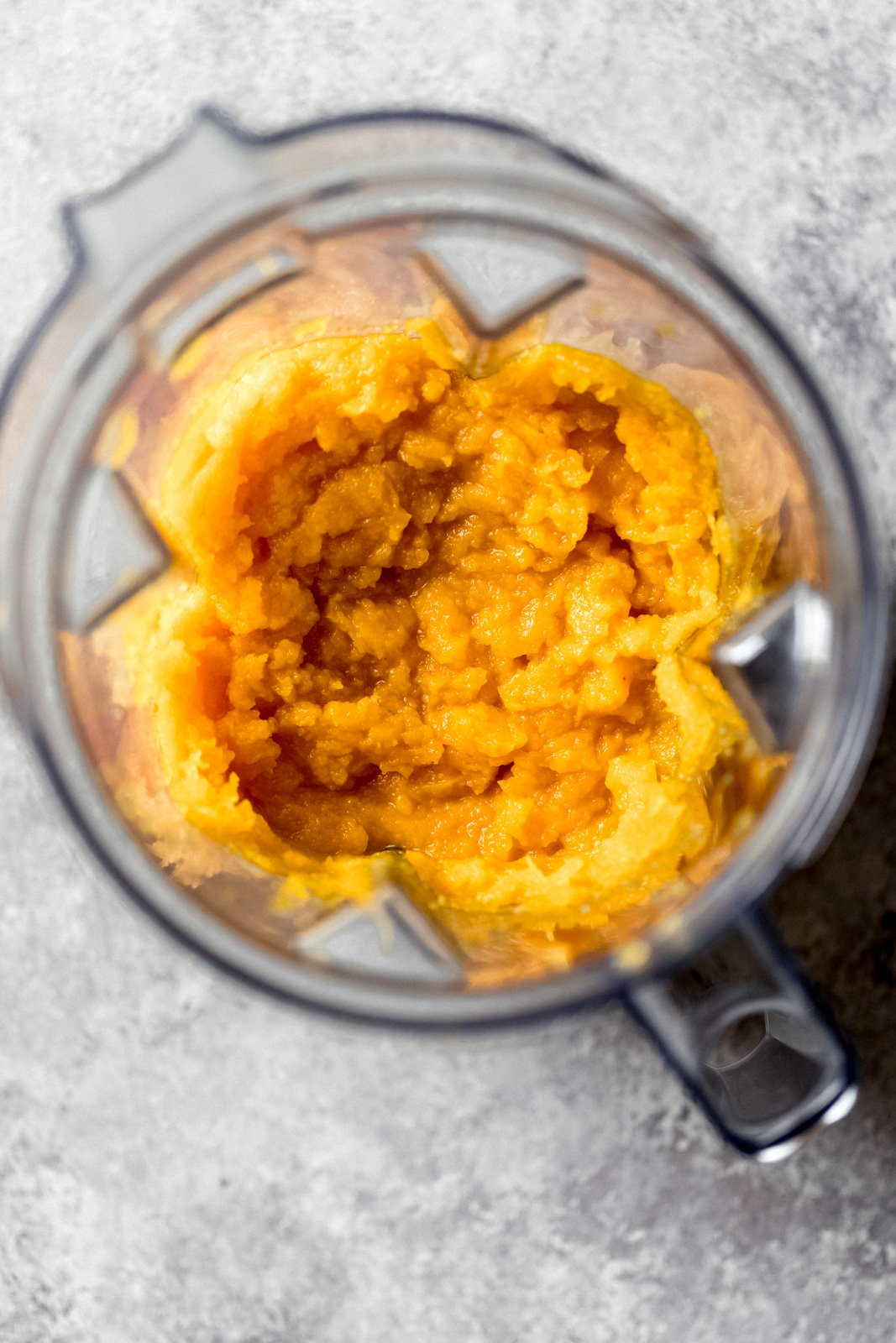 homemade pumpkin puree in a blender
