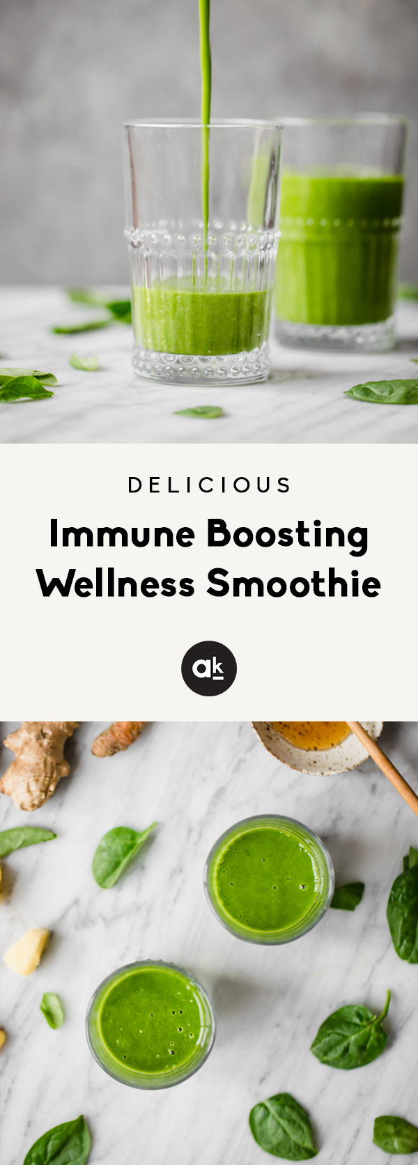 Immune boosting wellness smoothie packed with nourishing ingredients: fresh ginger, turmeric root, spinach, raw or manuka honey, pineapple, banana and black pepper. Sounds crazy, but this smoothie is absolutely delicious, great for digestion and a boost for your immune system!