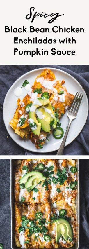 collage of pumpkin enchiladas