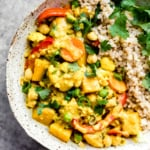 Nourishing Yellow Chickpea Pumpkin Curry with Coconut Brown Rice