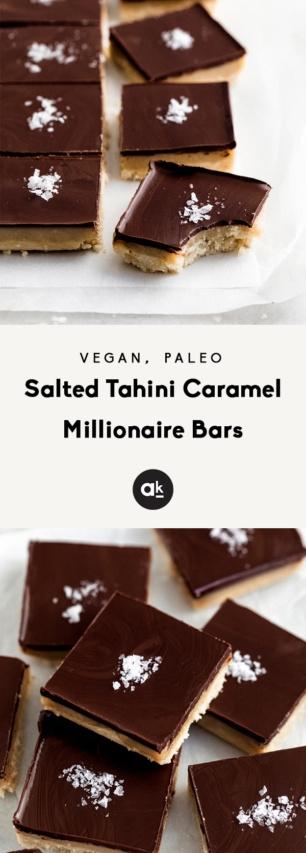 collage of caramel millionaire bars