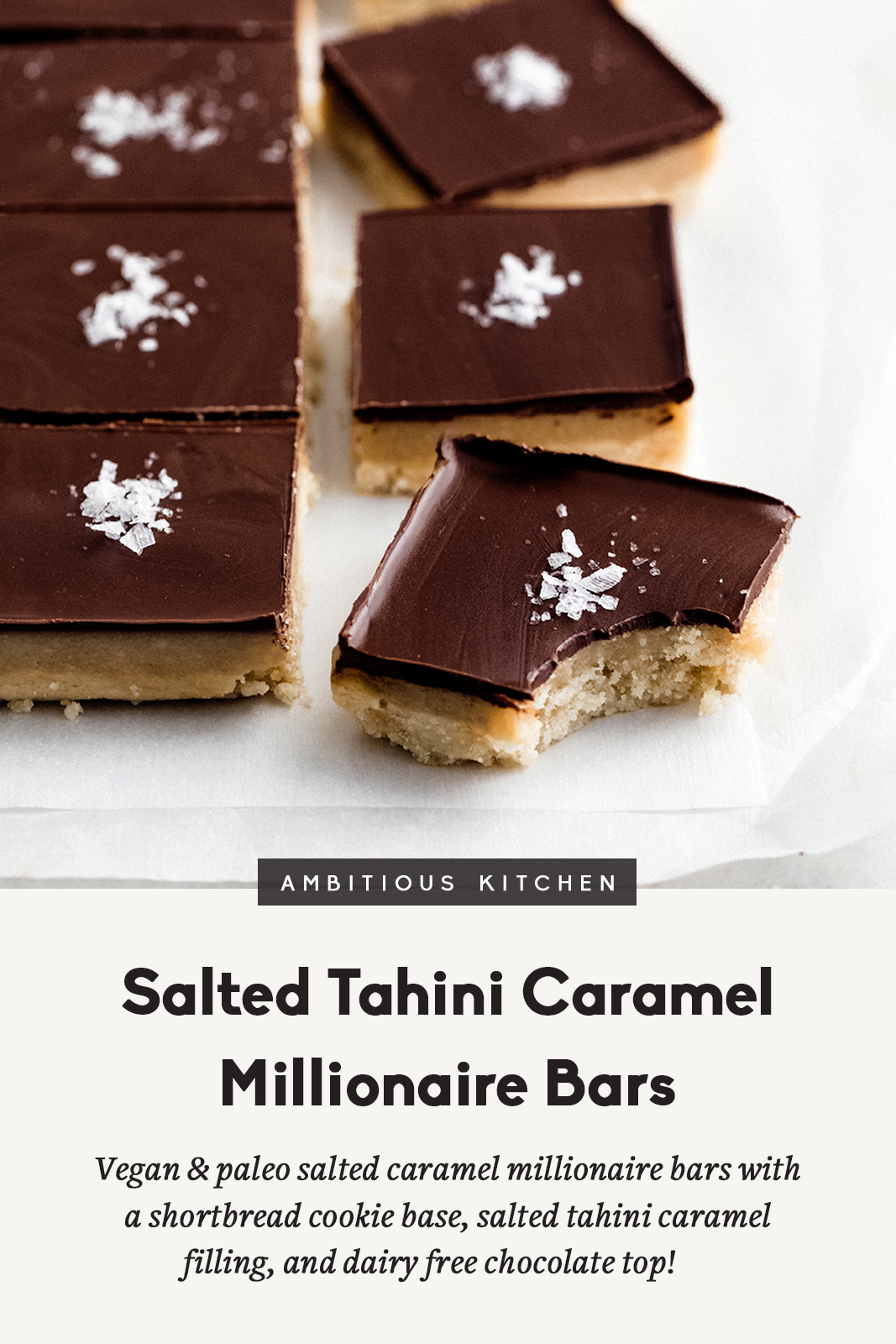 Easy to make salted caramel millionaire bars with a shortbread cookie base, salted tahini caramel filling and topped with dairy free chocolate. Both vegan, gluten free and paleo! This recipe is in partnership with Enjoy Life.