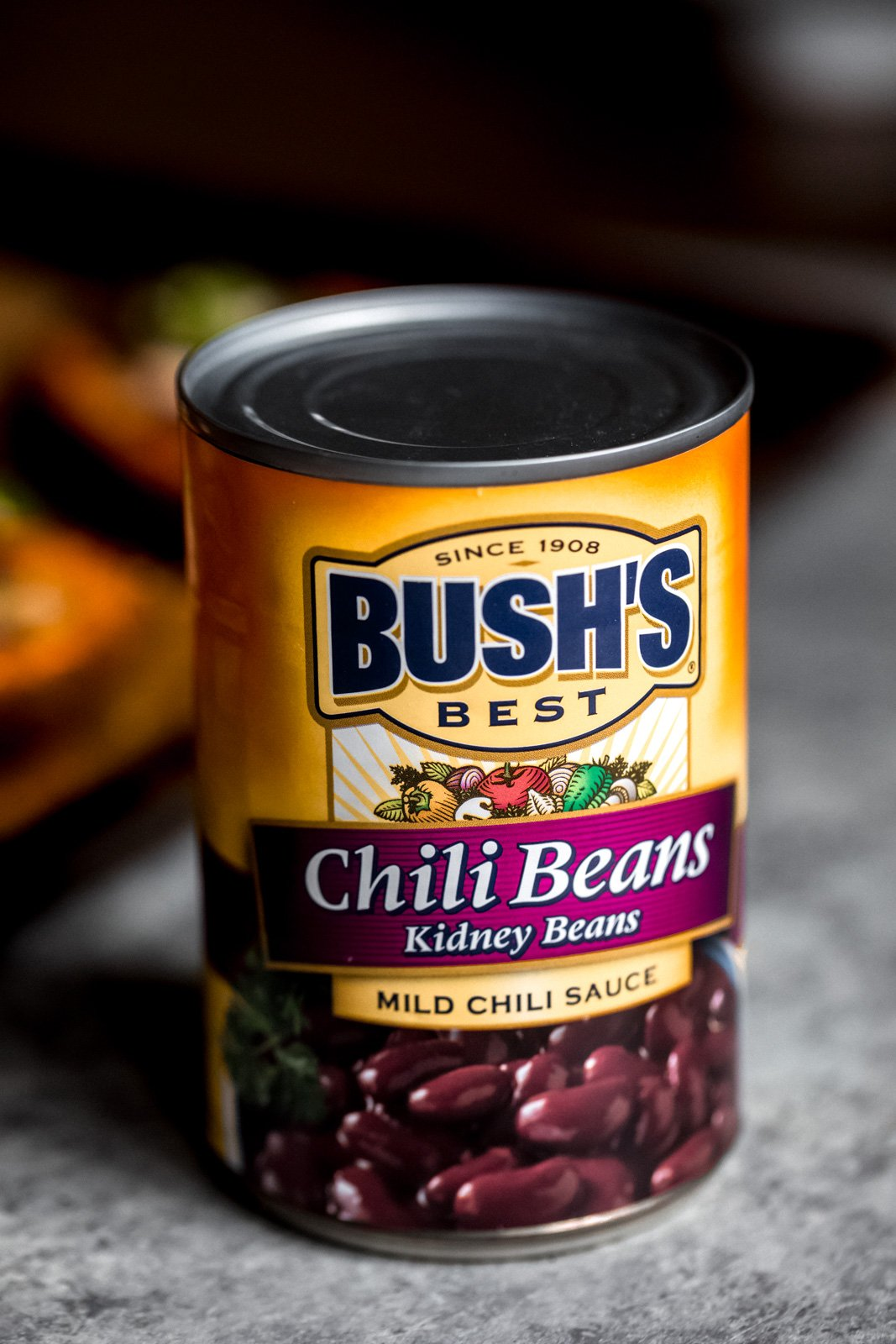 can of BUSH'S chili beans