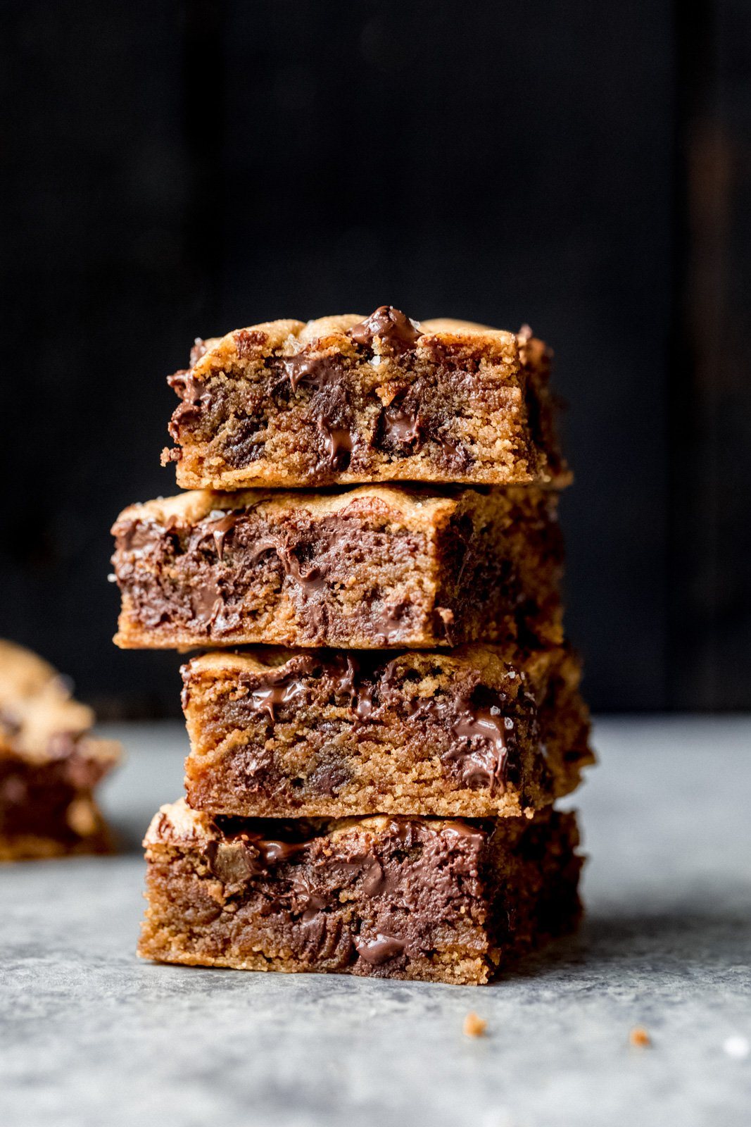 paleo chocolate chip tahini blondies in a stack