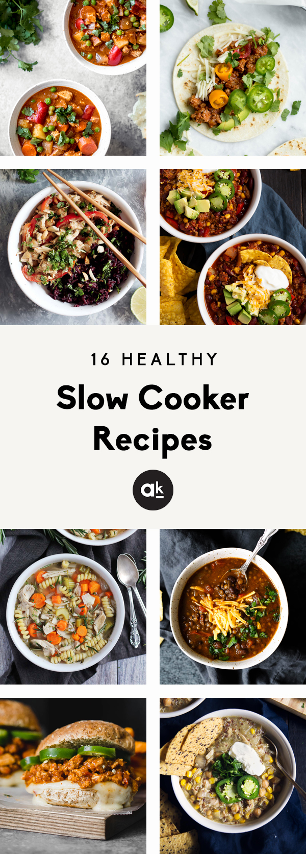 16 delicious and healthy slow cooker recipes to make year-round! With nourishing soups and stews, plus delicious tacos and chilis, these slow cooker recipes will be your new favorites to feed a crowd or meal prep for the week.