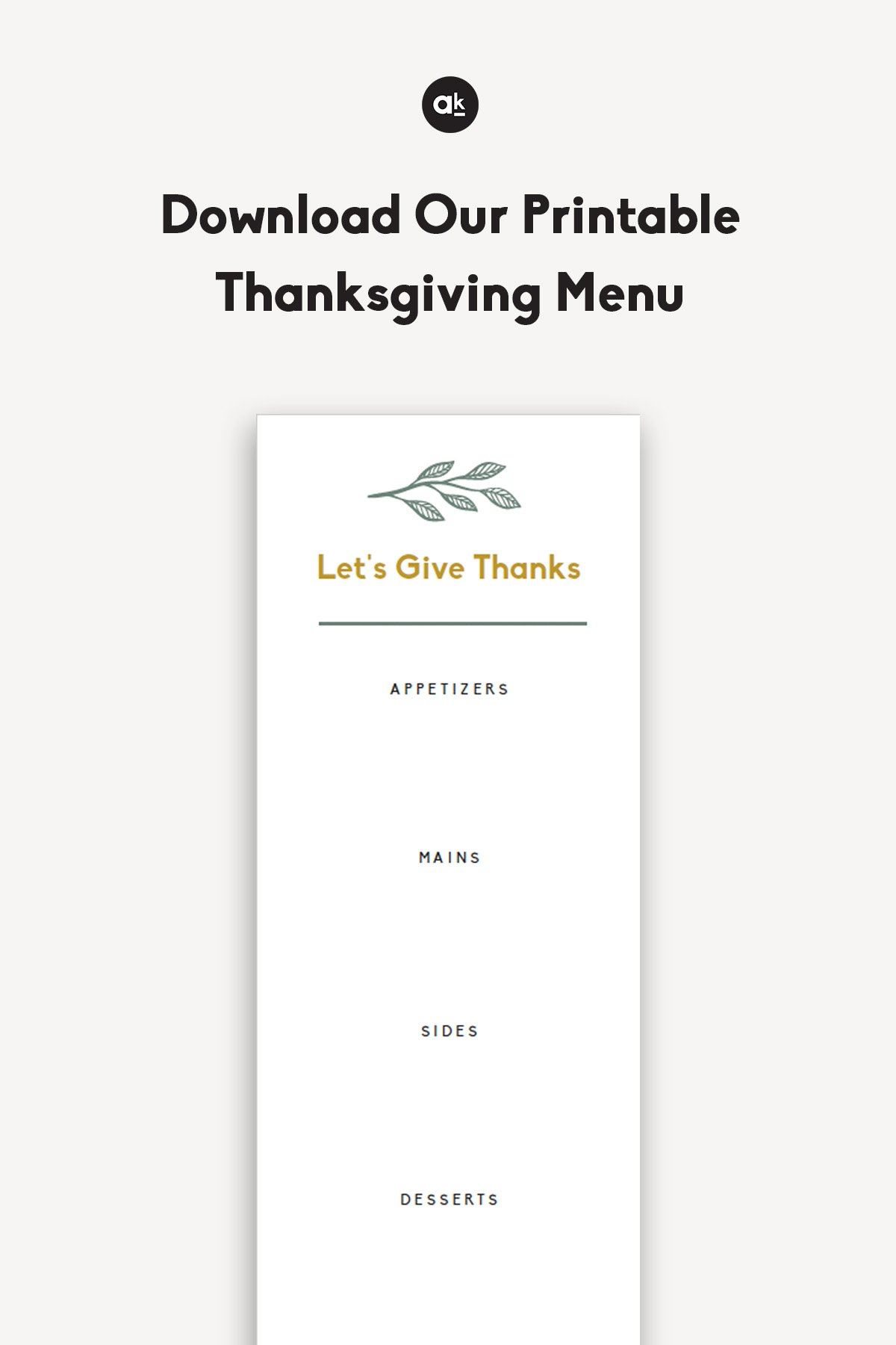 Printable Thanksgiving menu from Ambitious Kitchen