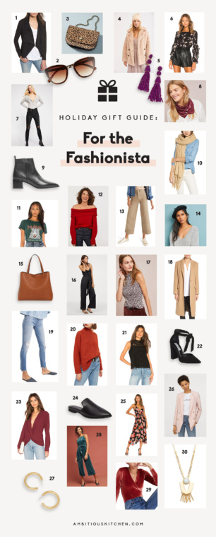 collage of gifts for the fashionista