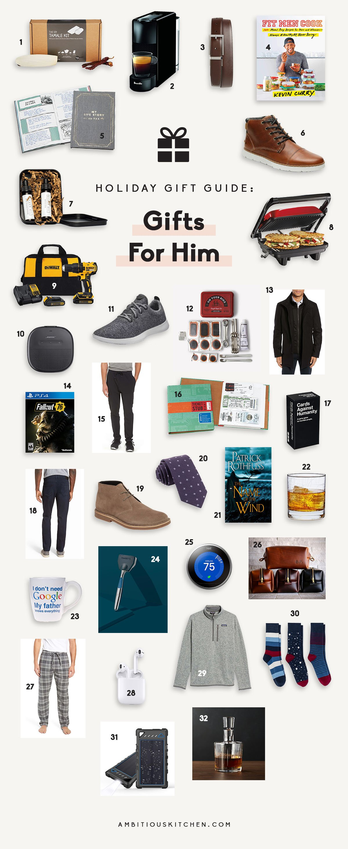 32 fun, amazing gift ideas for the men in your life! Whether you're shopping for your husband, brother, boyfriend, dad, or best friend, you'll find the perfect ideas in this guide. From grooming kits to video games and everything in between.