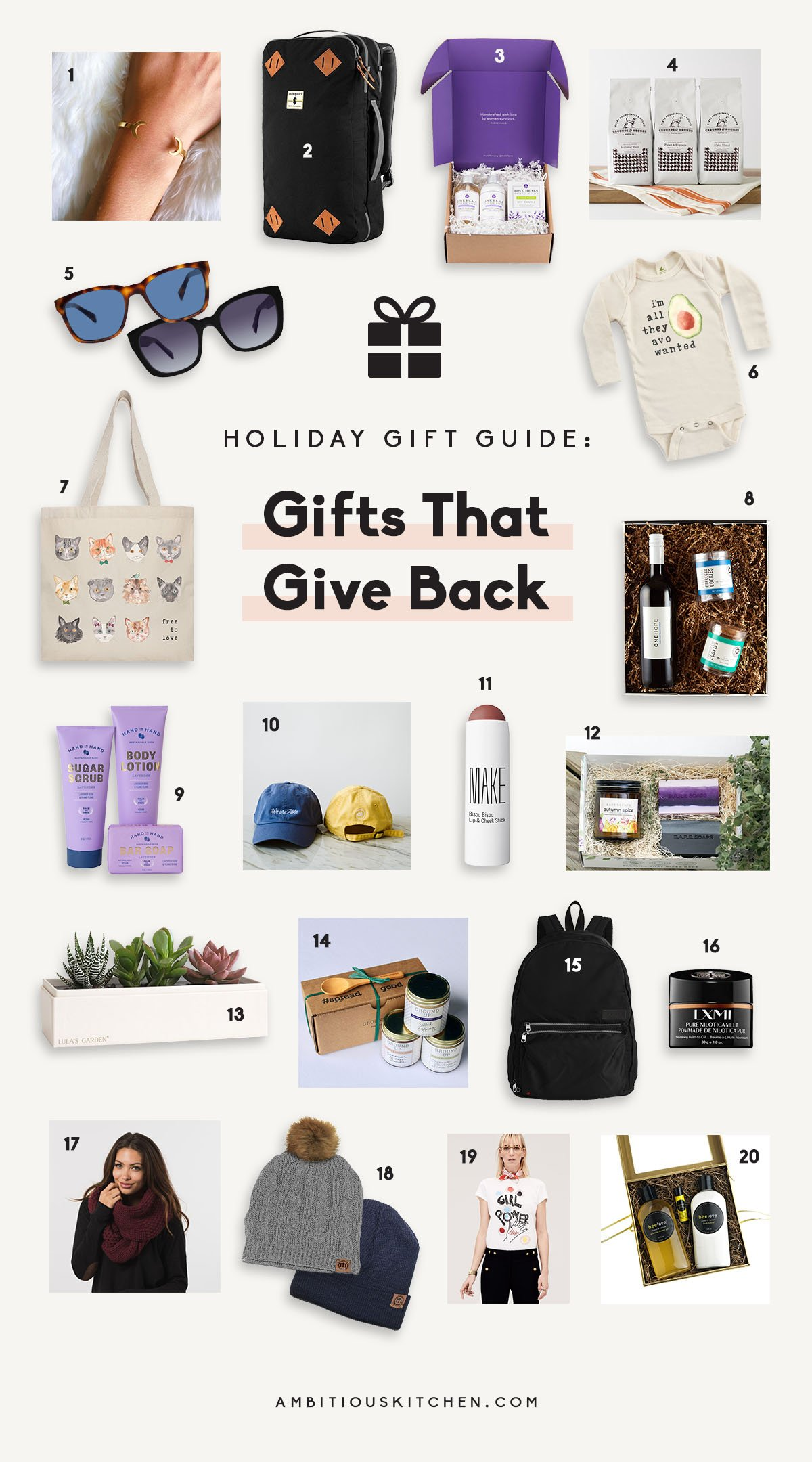 collage of gifts that give back