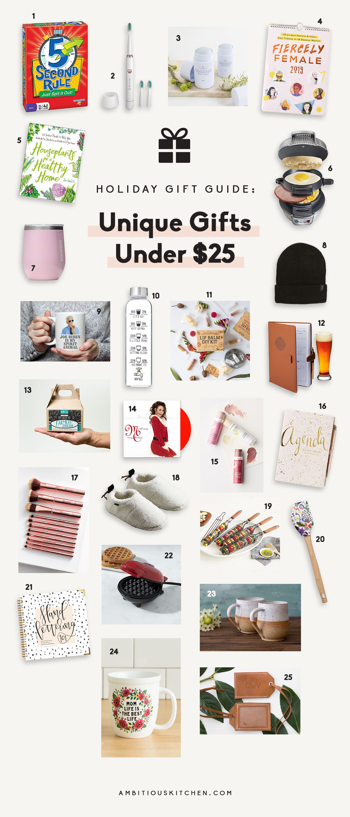 collage of unique gifts under $25